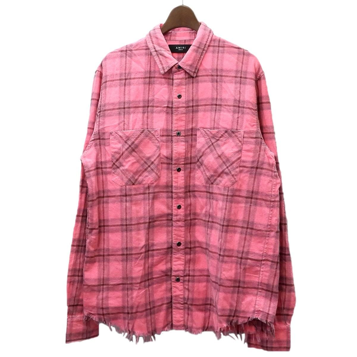 【中古】AMIRI 「Core Ombre Plaid Shirt」オンブレチェックシャツ ネオンピンク サイズ:M 【150220】(アミリ)