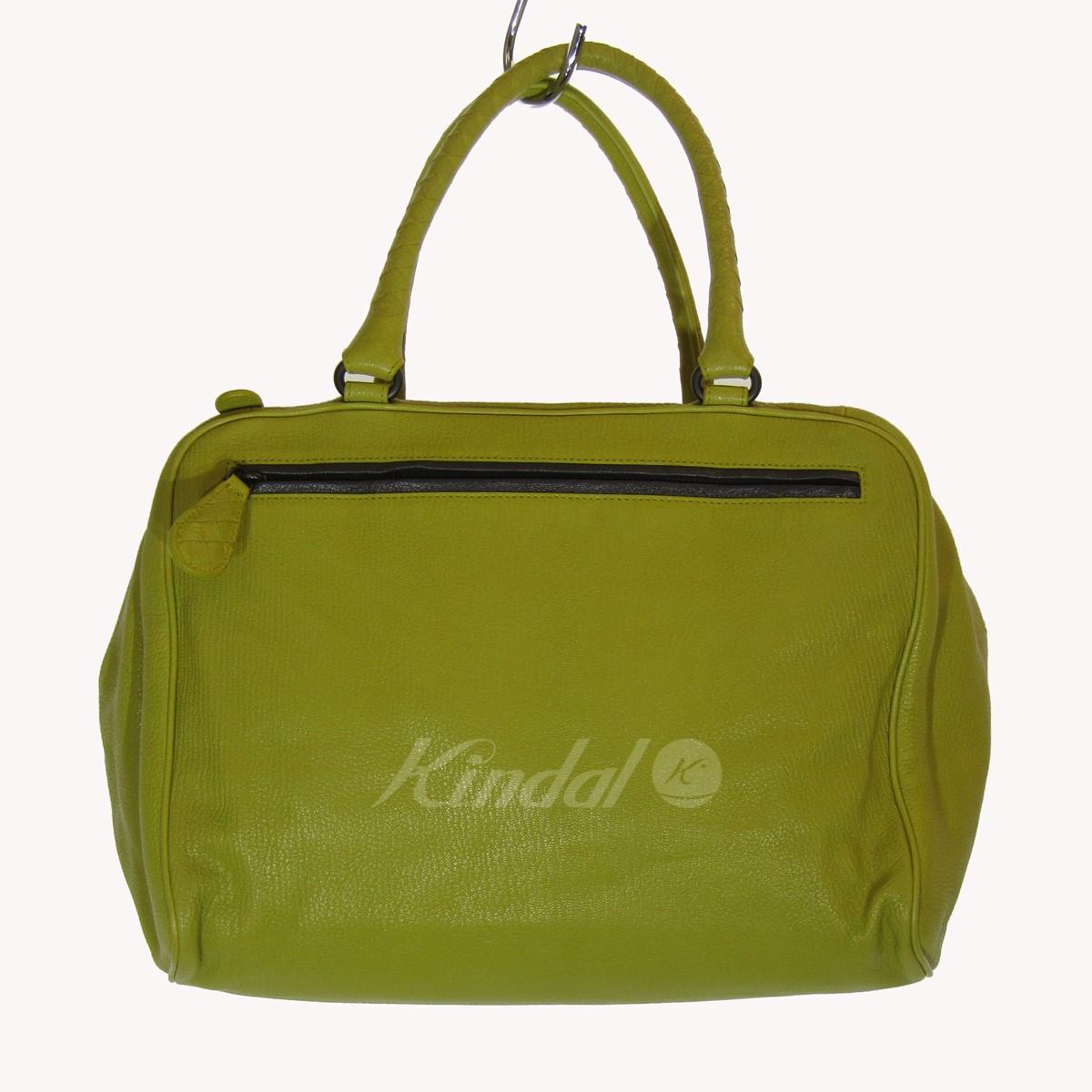 【中古】BOTTEGA VENETA レザートートバッグ 黄緑 サイズ:- 【160220】(ボッテガヴェネタ)