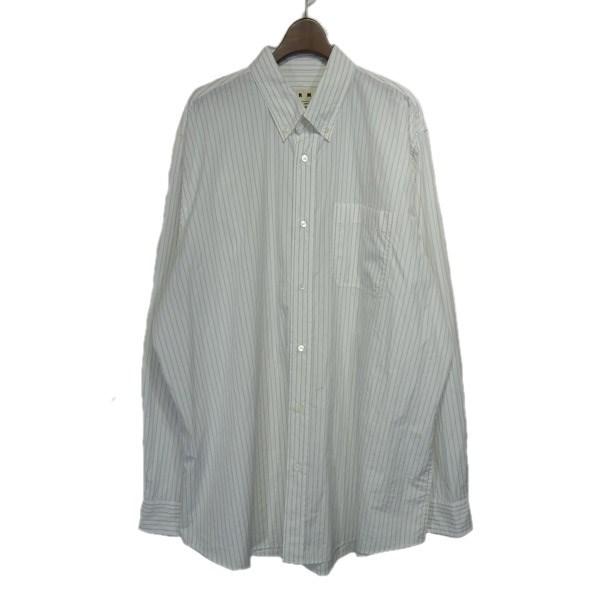 【中古】MARNI 2019SS ストライプボタンダウンシャツ ホワイト サイズ:46 【170220】(マルニ)