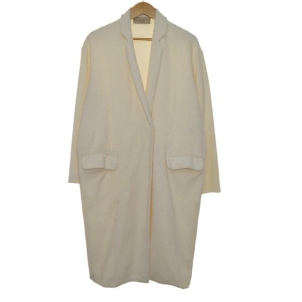 【中古】MAISON FLANEUR17SS ニットロングジャケット ホワイト サイズ:38