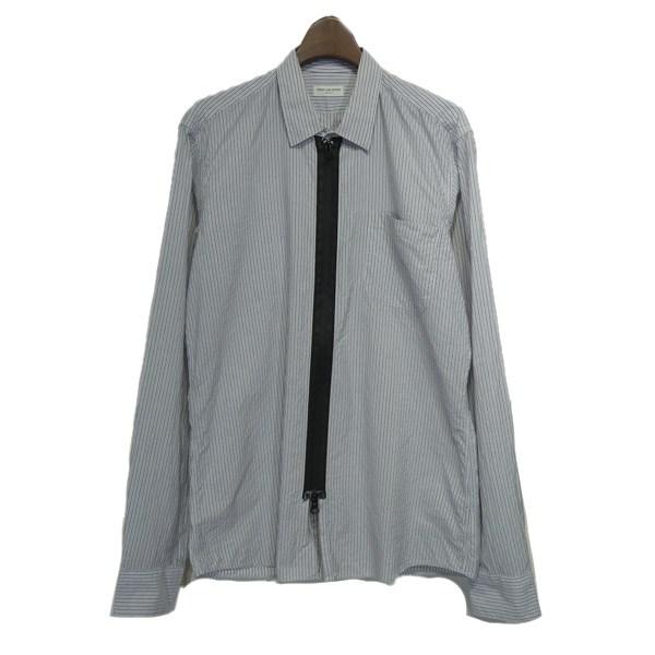 【中古】Dries Van Noten ジップアップストライプシャツ ブルー×ホワイト サイズ:48 【190220】(ドリスヴァンノッテン)