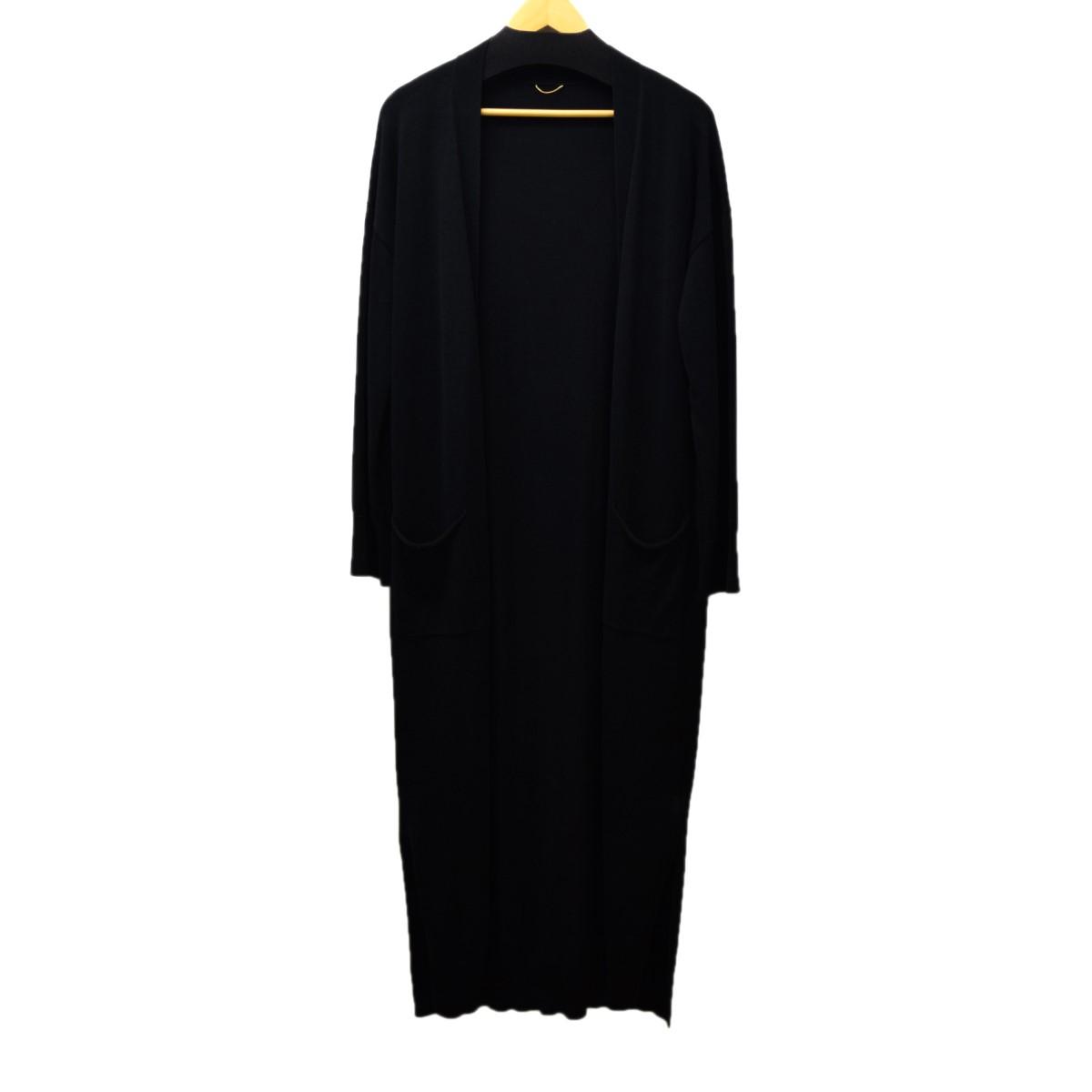 【中古】DEUXIEME CLASSE シルクコットンロングカーデ ブラック コットン サイズ:- 【180220】(ドゥーズィエムクラス)