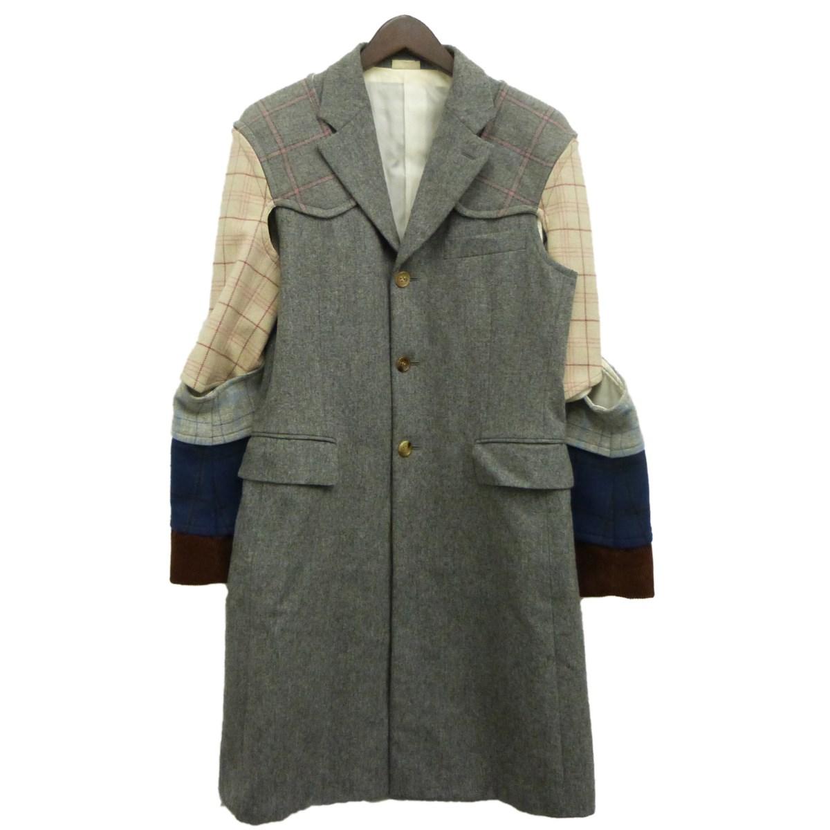 【中古】COMME des GARCONS HOMME PLUS16AW鎧コート グレー サイズ:S 【4月23日見直し】