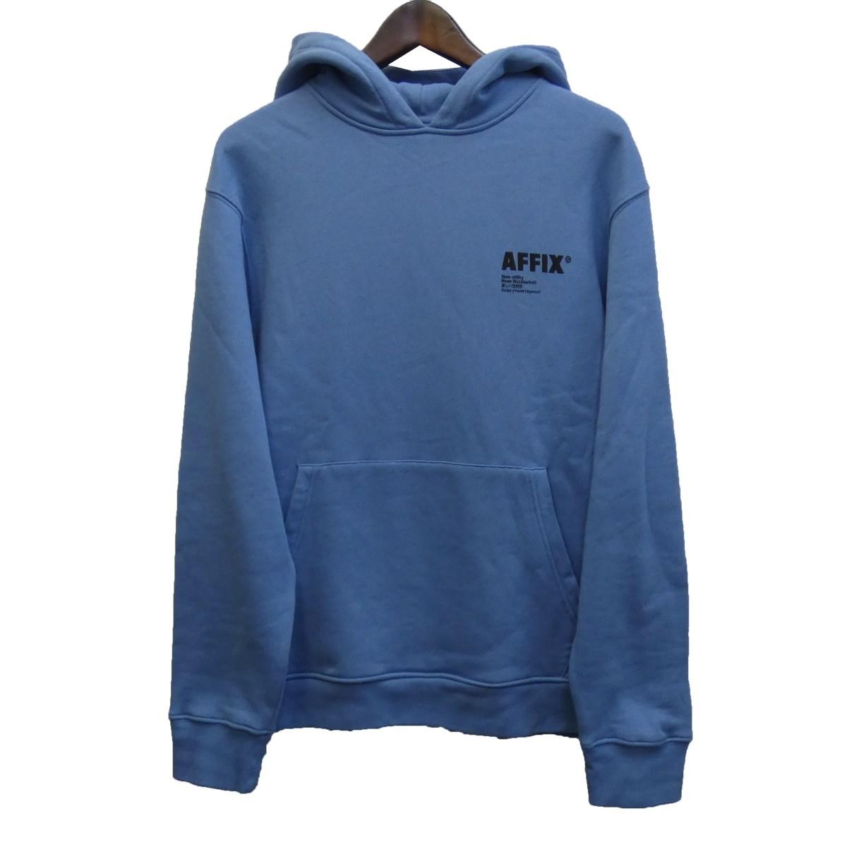 【中古】AFFIX ロゴプリントプルオーバーパーカー ブルー サイズ:M 【190220】(アフィックス)