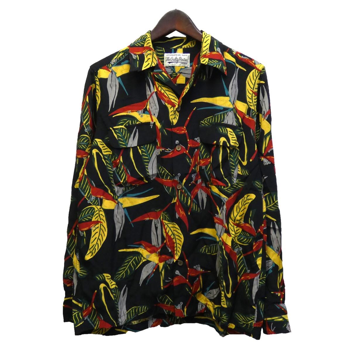 【中古】WACKO MARIA 2019AW 長袖アロハシャツ ブラック×イエロー サイズ:M 【190220】(ワコマリア)