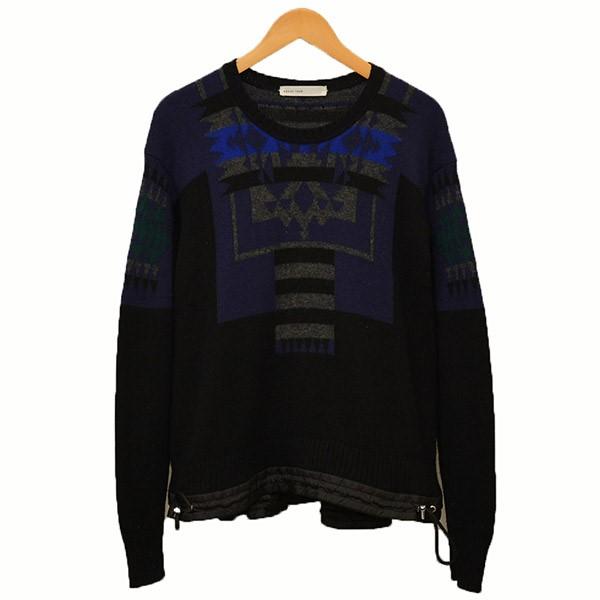 【中古】sacai luck ドローコード フレア ネイティブ柄 ニット セーター ブラック サイズ:3 【190220】(サカイ ラック)