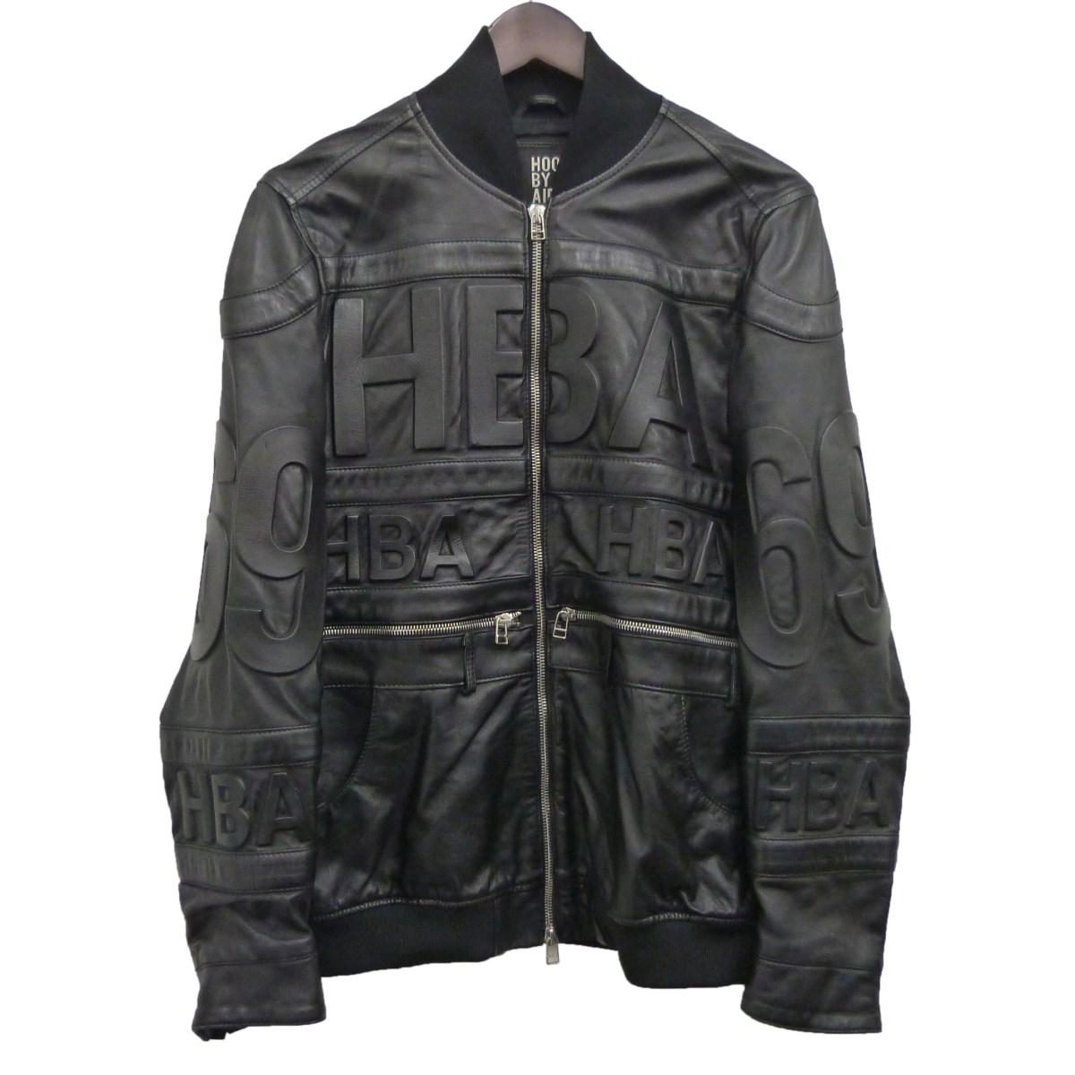 【中古】HOOD BY AIR レザーライダースジャケット ブラック サイズ:M 【200220】(フードバイエアー)