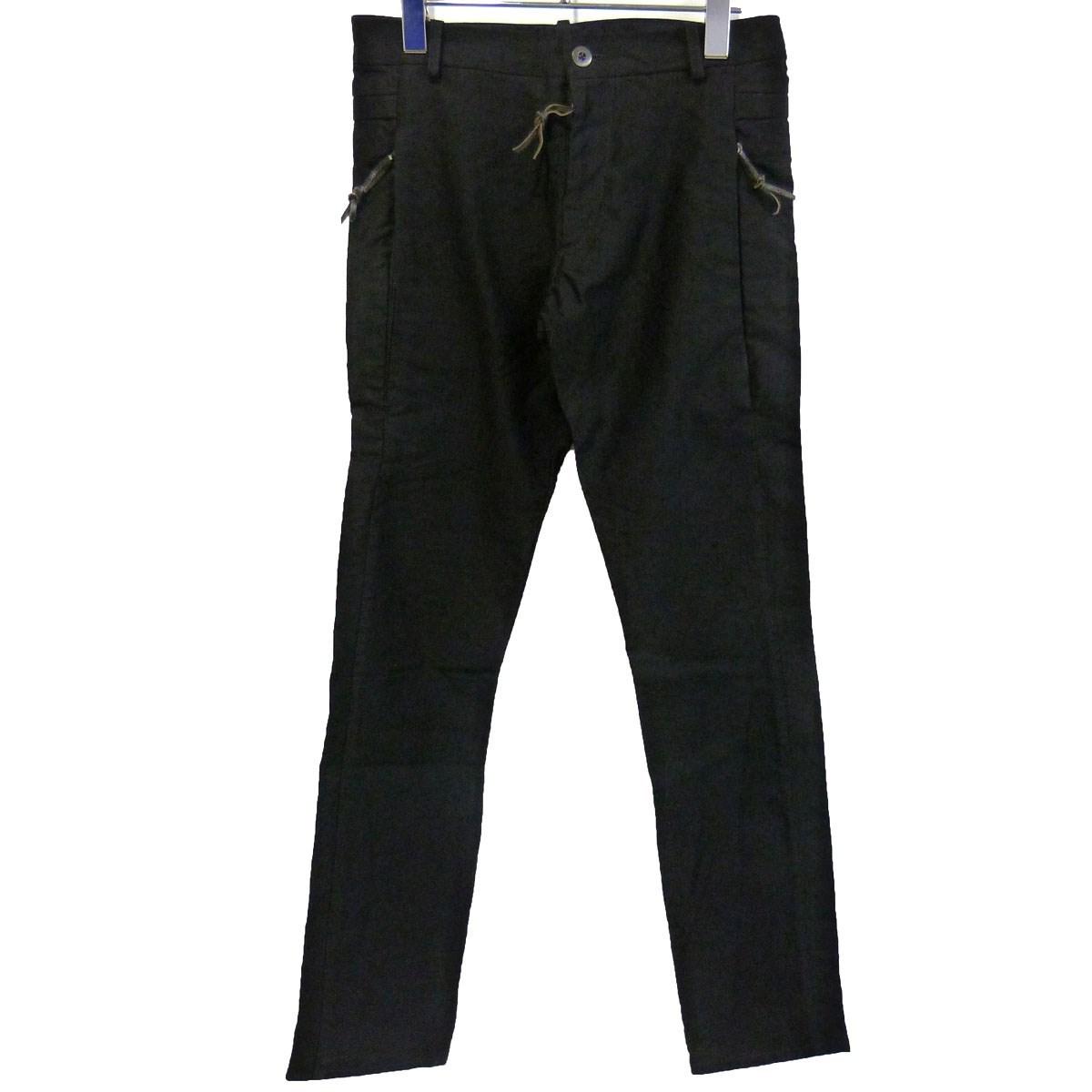【中古】ATELIER SUPPANジップポケットコットンパンツ ブラック サイズ:0 【7月27日見直し】