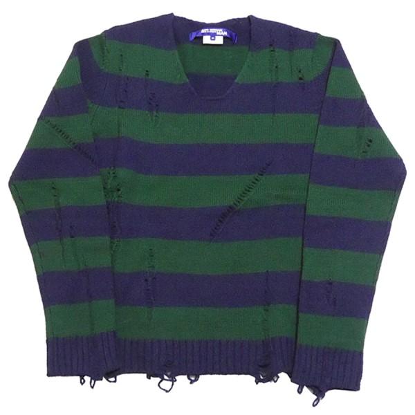 【中古】JUNYA WATANABE COMME des GARCONS MAN Distressed Knit Striped Sweater グリーン×ネイビー サイズ:M 【200220】(ジュンヤワタナベコムデギャルソンマン)