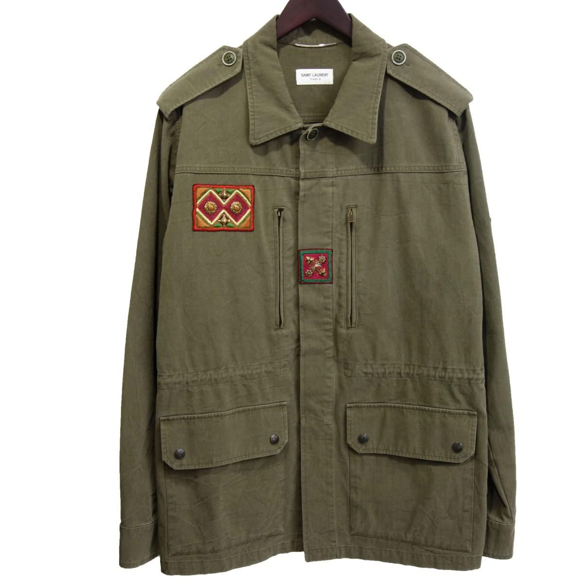【中古】SAINT LAURENT PARIS 18SS ミリタリー装飾ジャケット カーキ サイズ:48 【210220】(サンローランパリ)