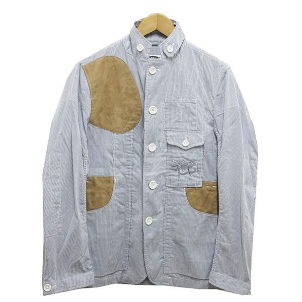 【中古】Engineered Garments ストライプテーラードキリカエジャケット ブルー サイズ:S 【210220】(エンジニアードガーメンツ)
