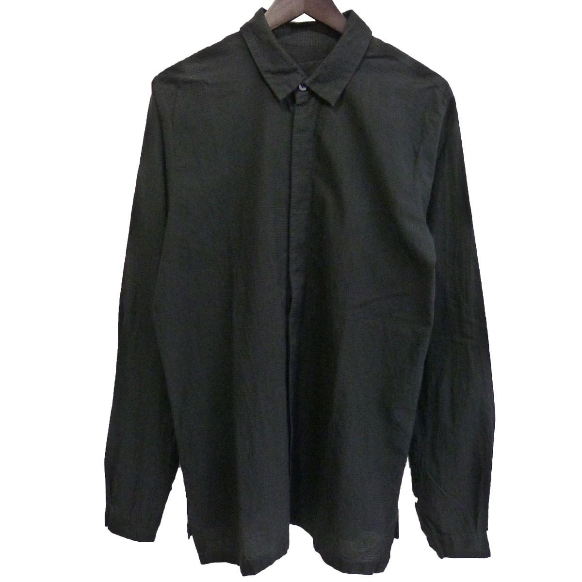 【中古】ATELIER SUPPAN シアサッカー比翼シャツ ブラック サイズ:3 【230220】(アトリエスパン)
