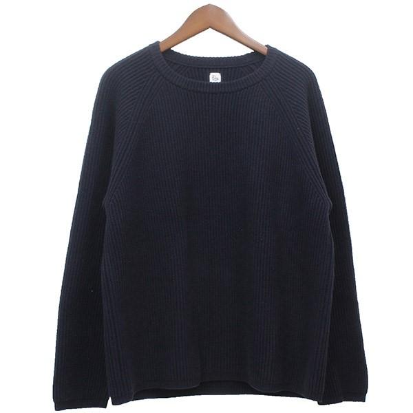 【中古】KAPTAIN SUNSHINE2018AW 7G Rib Crewneck Sweater クルーネックニットセーター ネイビー サイズ:38