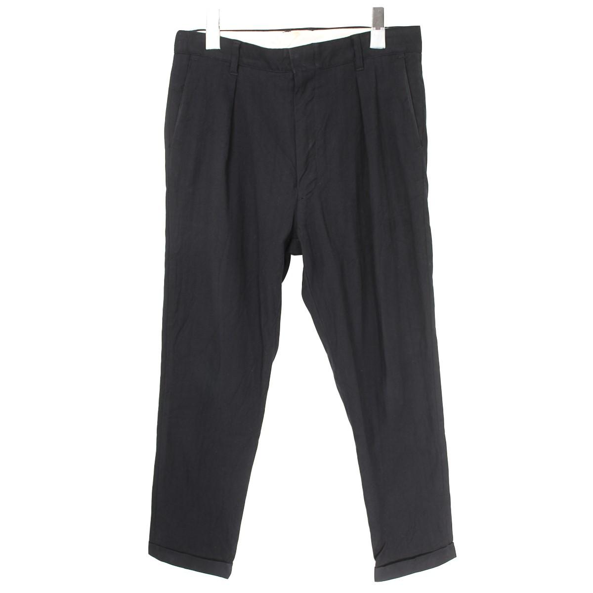 【中古】ISAMU KATAYAMA BACKLASHHerringbone Black Stretch Pants ヘリンボーンストレッチパンツ ブラック サイズ:S 【3月30日見直し】