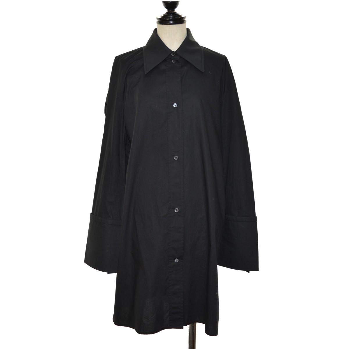 【中古】CELINE ロングポプリンシャツ ブラック サイズ:34 【240220】(セリーヌ)