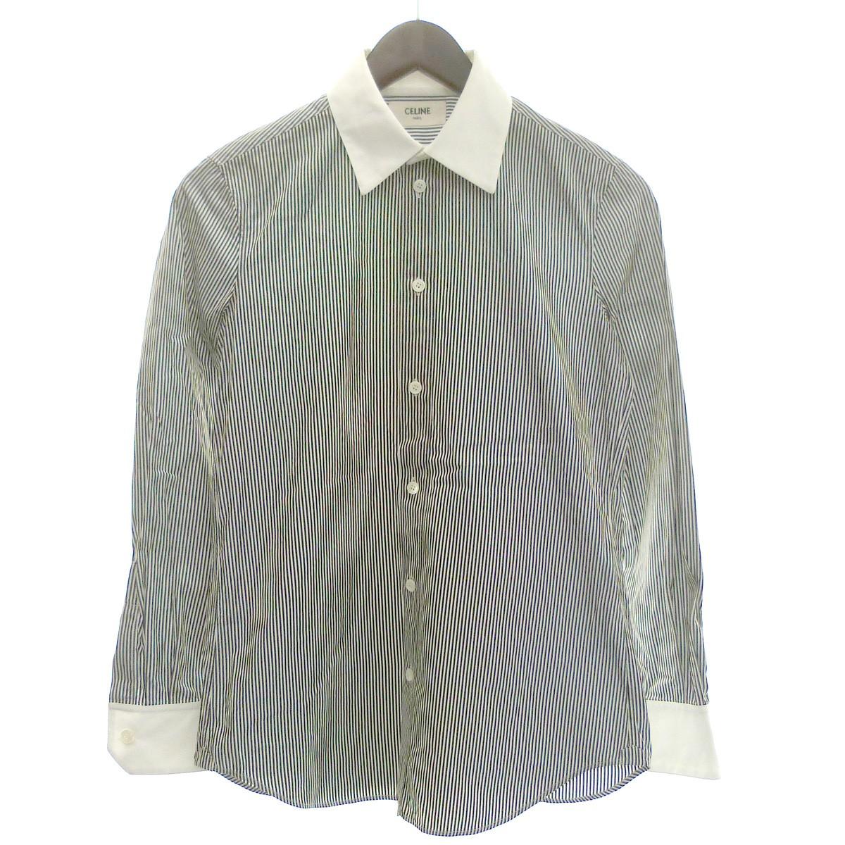【中古】CELINE ストライプクラシックシャツ クレリックシャツ ホワイト×ブラック サイズ:34 【250220】(セリーヌ)