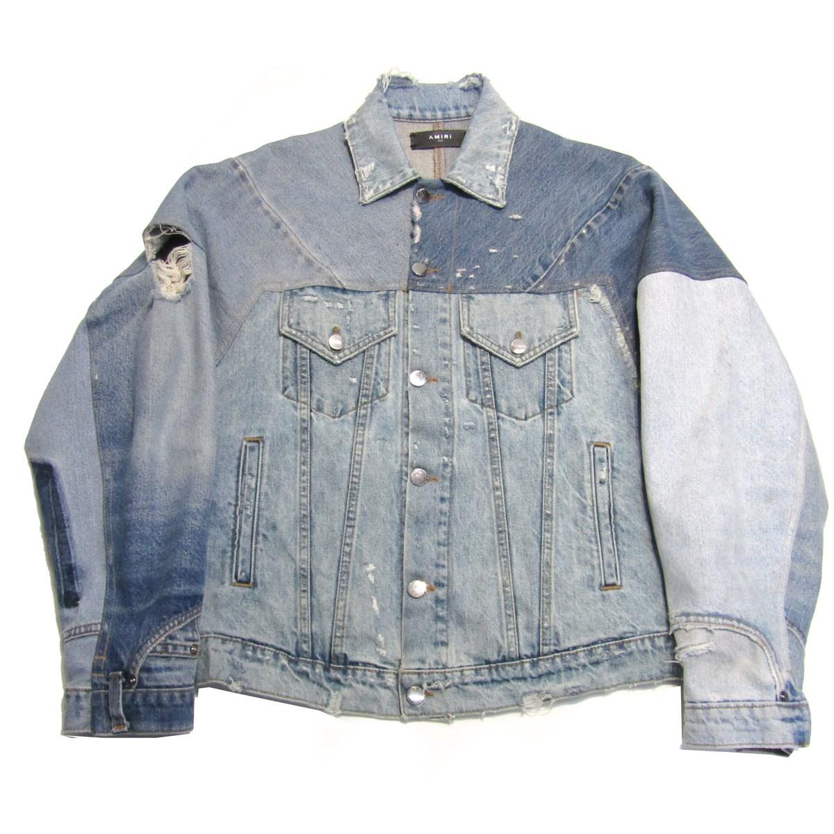 【中古】AMIRIダメージ加工 再構築デニムジャケット ブルー サイズ:XS-S 【4月2日見直し】