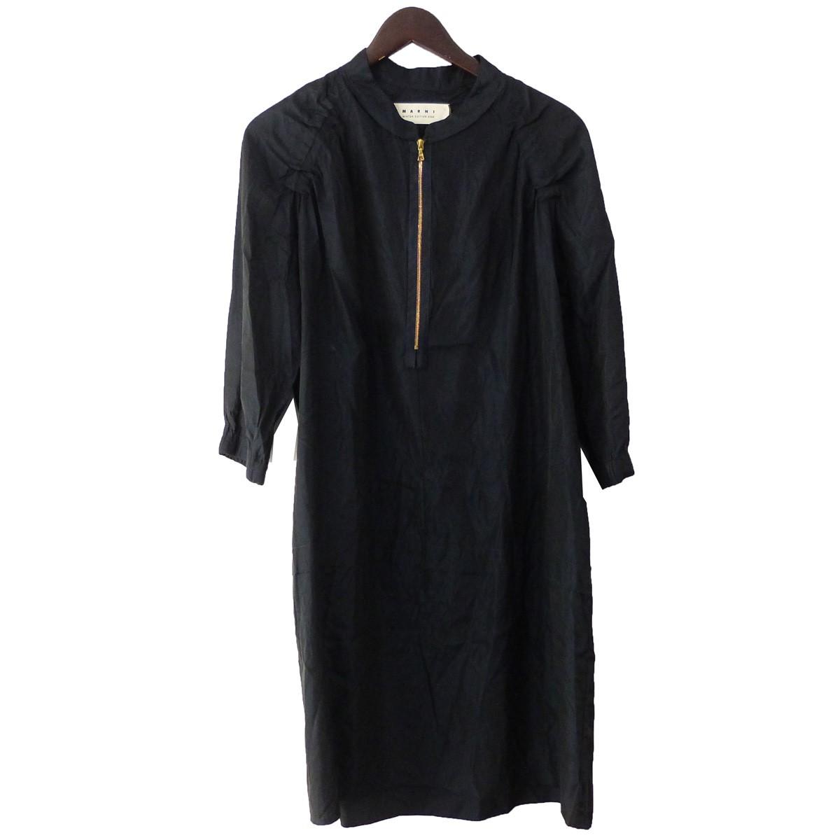 【中古】MARNI フロントZIPプルオーバーシャツ ブラック サイズ:42 【250220】(マルニ)