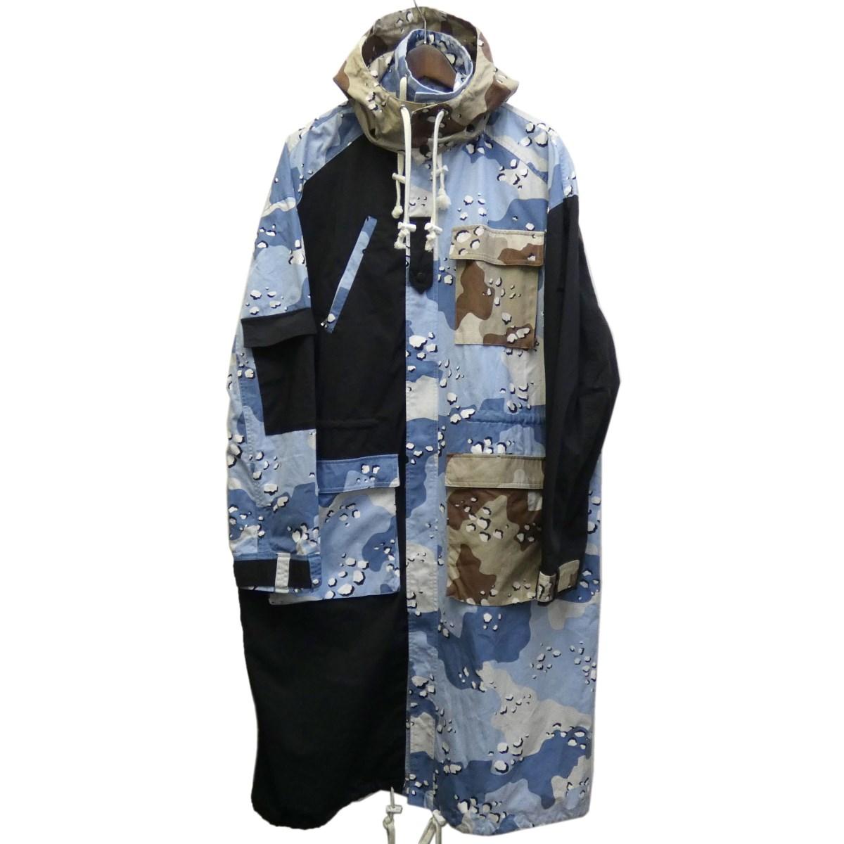 【中古】Liam Hodges カモ切替再構築ロングジャケット ブルー×ブラック×カーキ サイズ:S 【250220】(リアム ホッジス)