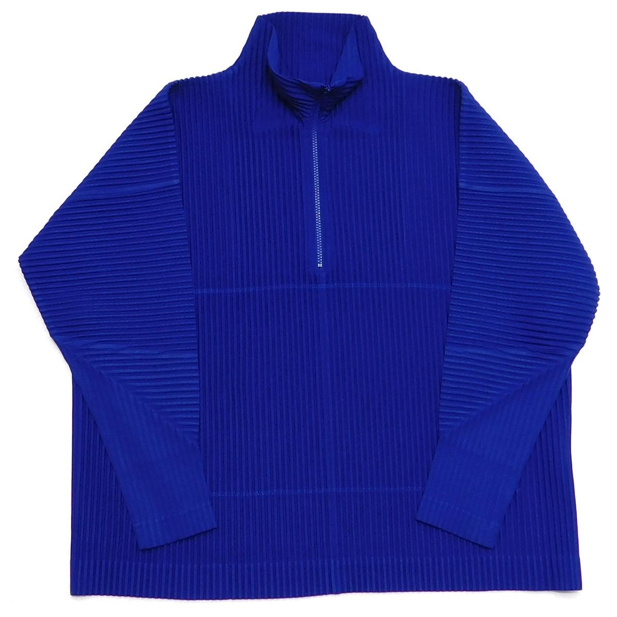 【中古】HOMME PLISSE ISSEY MIYAKE 2020SS プリーツハーフジッププルオーバーシャツジャケット ブルー サイズ:2 【250220】(オムプリッセ イッセイミヤケ)