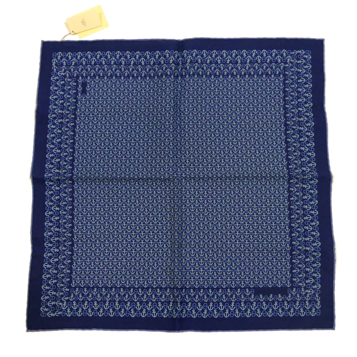 【中古】HERMES ポケットチーフ POCHETTE TWILL ブルー 【250220】(エルメス)