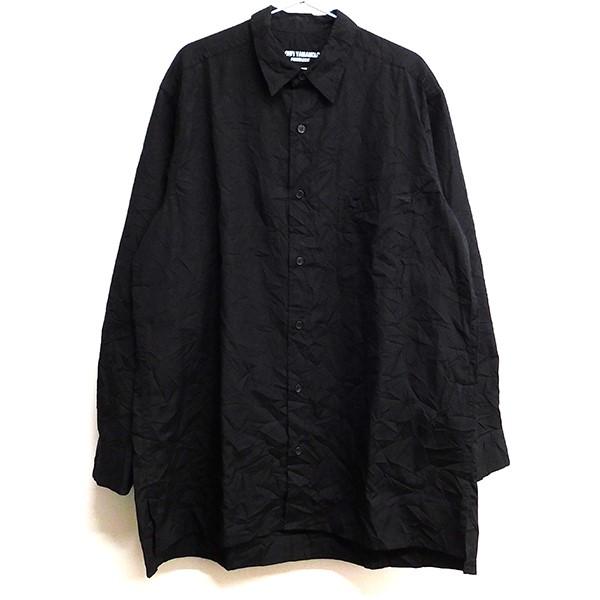 【中古】YOHJI YAMAMOTO pour homme 2019AW R-シワ加工シャツ ブラック サイズ:2 【260220】(ヨウジヤマモトプールオム)