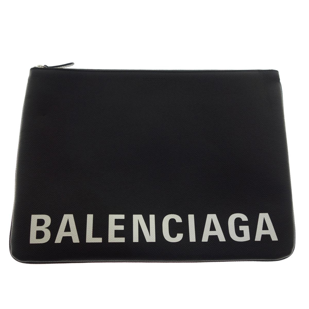 【中古】BALENCIAGA レザー クラッチバッグ ブラック 【270220】(バレンシアガ)