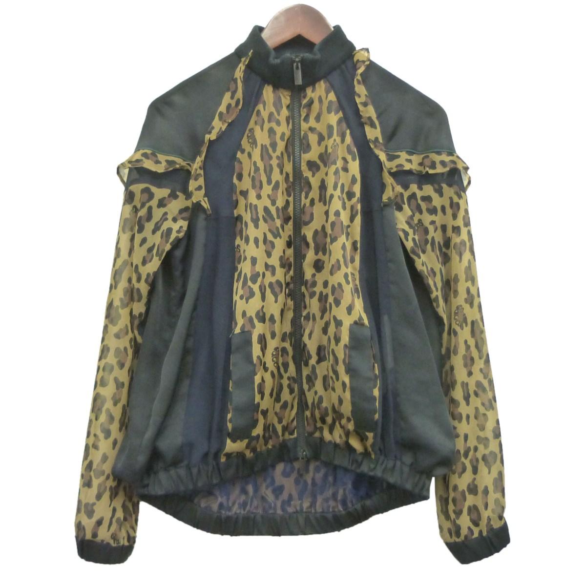 【中古】sacai「Leopard-Patterned Bomber Jacket」レオパードメッシュジャケット ブラック サイズ:1 【8月10日見直し】
