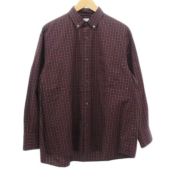 エディフィス 中古 EDIFICE 2019AW ボタンダウンワイドシャツ 安全 サイズ:46 ネイビー レッド セール特価 ブラウン 280220