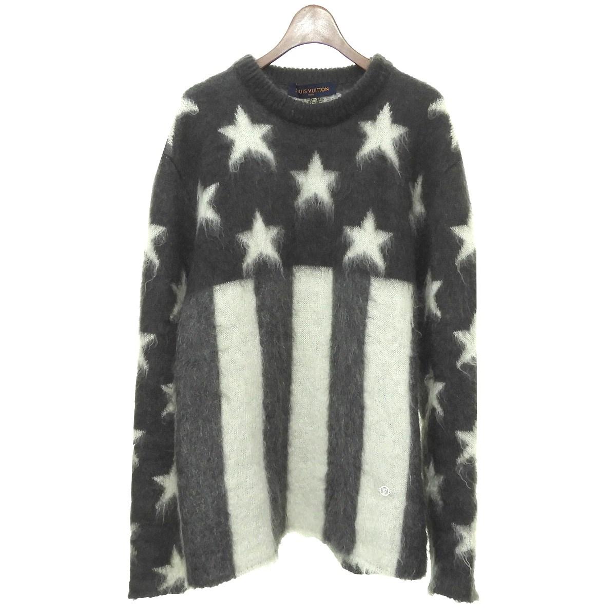 【中古】LOUIS VUITTON 19AW USAフラッグモヘヤジャガードニットセーター ブラック サイズ:XL 【290220】(ルイヴィトン)