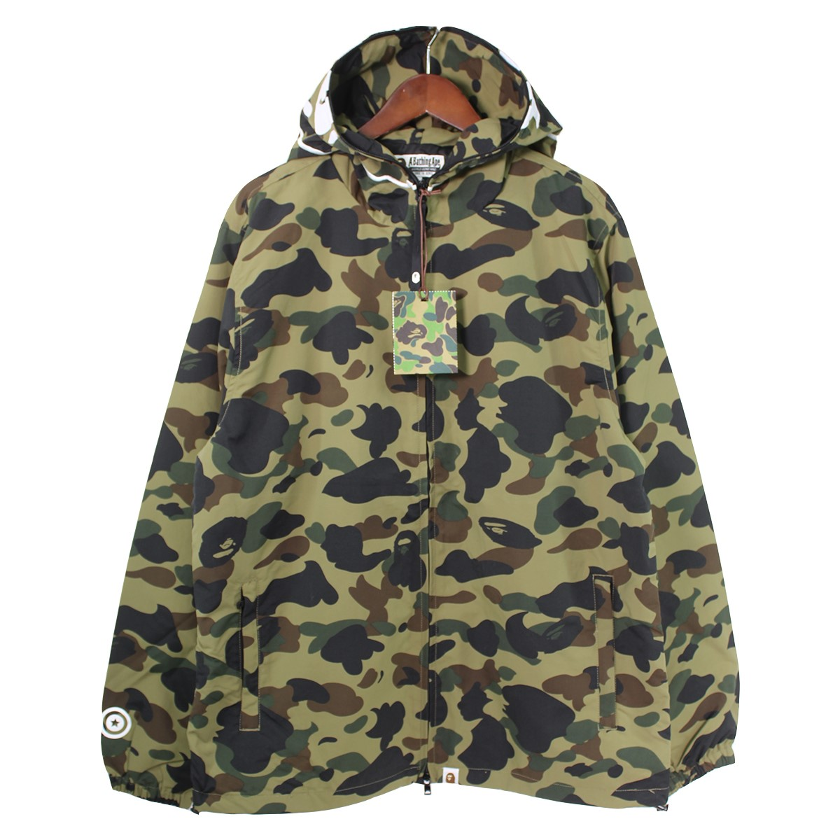 【中古】A BATHING APE 1ST CAMO 2ND APE FULL ZIP HOODIE JACKET カーキ サイズ:XL 【280220】(アベイシングエイプ)