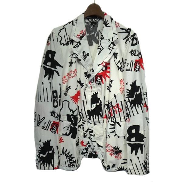 【中古】BLACK COMME des GARCONS 2016SS 総柄テーラードジャケット ホワイト サイズ:M 【290220】(ブラックコムデギャルソン)