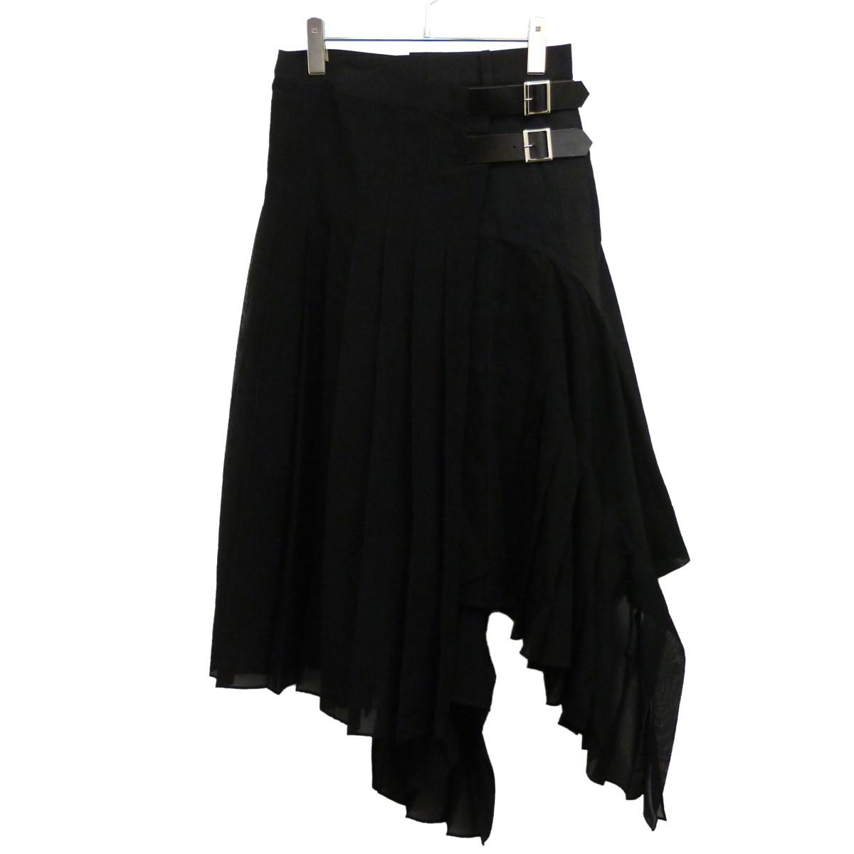 【中古】sacai プリーツ切替巻きスカート ブラック サイズ:1 【290220】(サカイ)