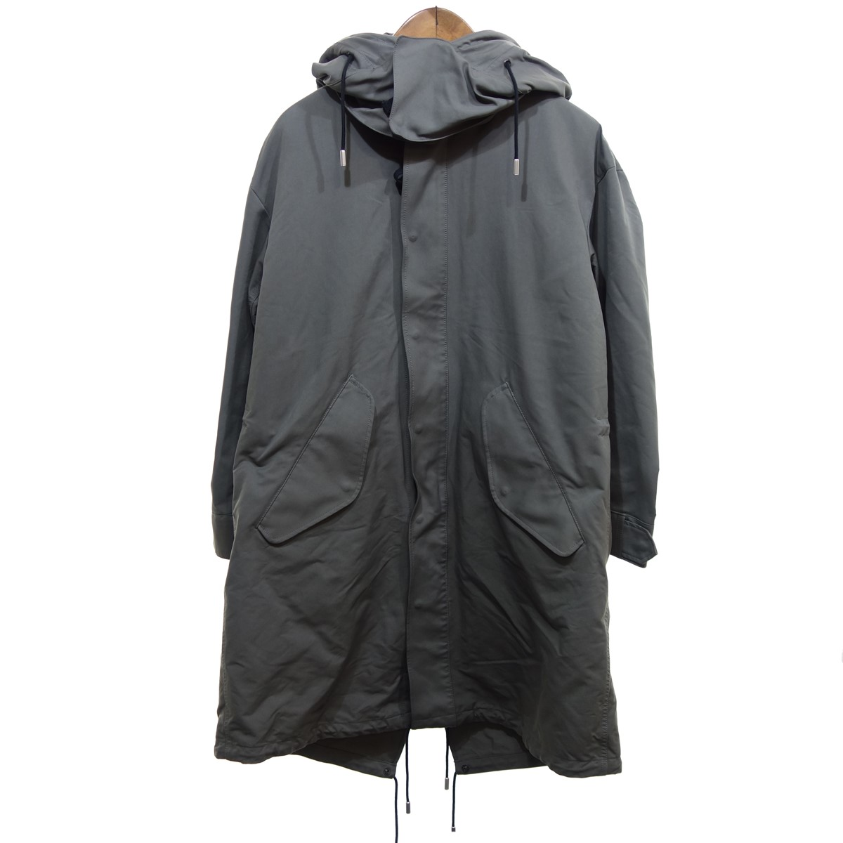 【中古】THE RERACS 【2019A/W】 PE/NY HIGH DENSITY PEACH LONG MODS COAT カーキ サイズ:46 【010320】(ザ リラクス)