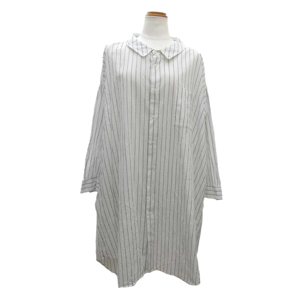 【中古】Ordinary fits ストライプシャツワンピース ホワイト サイズ:0 【010320】(オーディナリーフィッツ)