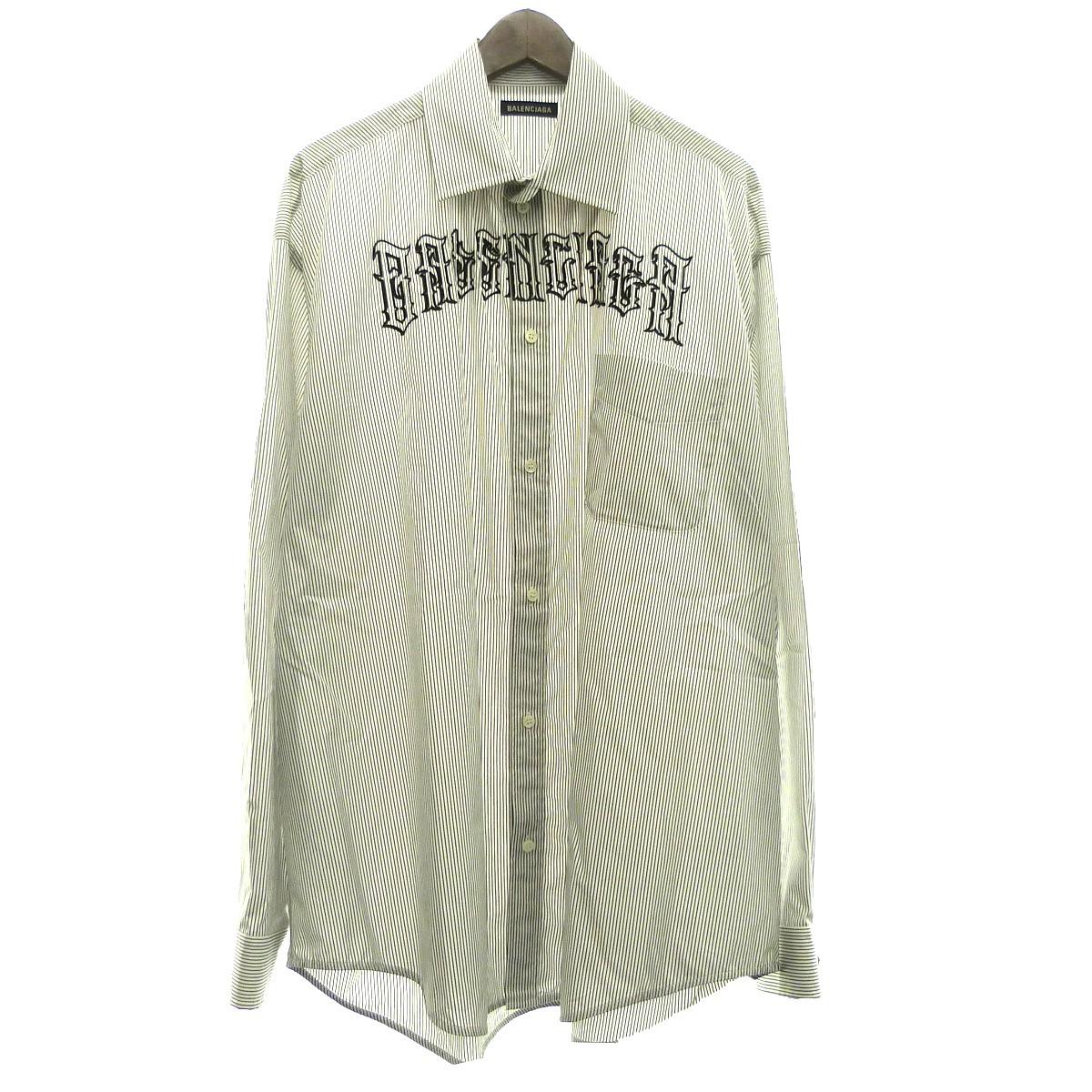 【中古】BALENCIAGA 19SS タトゥーロゴストライプシャツ ホワイト×ブラック サイズ:38 【010320】(バレンシアガ)
