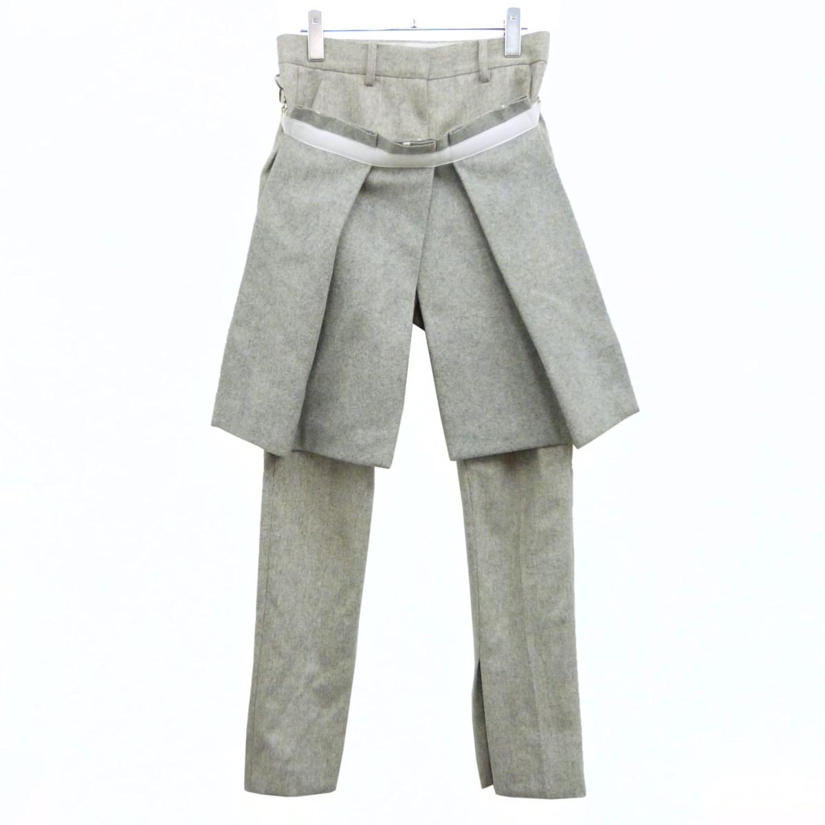 【中古】sacai 19AW「 trousers with removable panel」巻きスカートウールパンツ グレー サイズ:1 【010320】(サカイ)