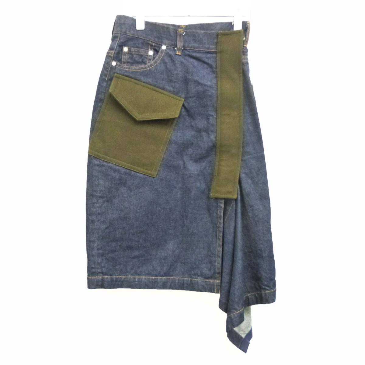 【中古】sacai 19AWデニムスカート ネイビー サイズ:1 【010320】(サカイ)