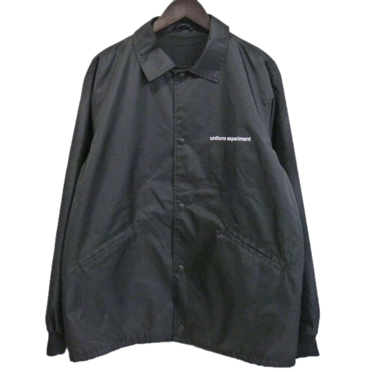 【中古】UNIFORM EXPERIMENT 17AW「BIG COACH BLOUSON」 ロゴプリントコーチジャケット ブラック サイズ:1 【010320】(ユニフォームエクスペリメント)