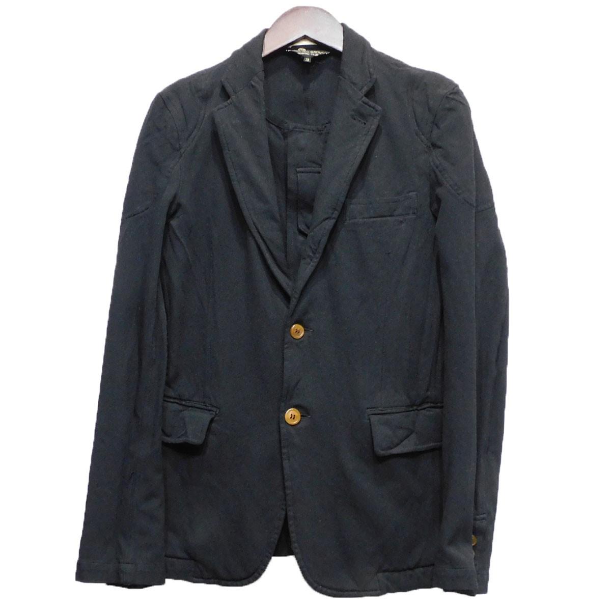 【中古】COMME des GARCONS HOMME PLUS10AW ベストレイヤードポリ縮ジャケット ブラック サイズ:XS 【5月11日見直し】