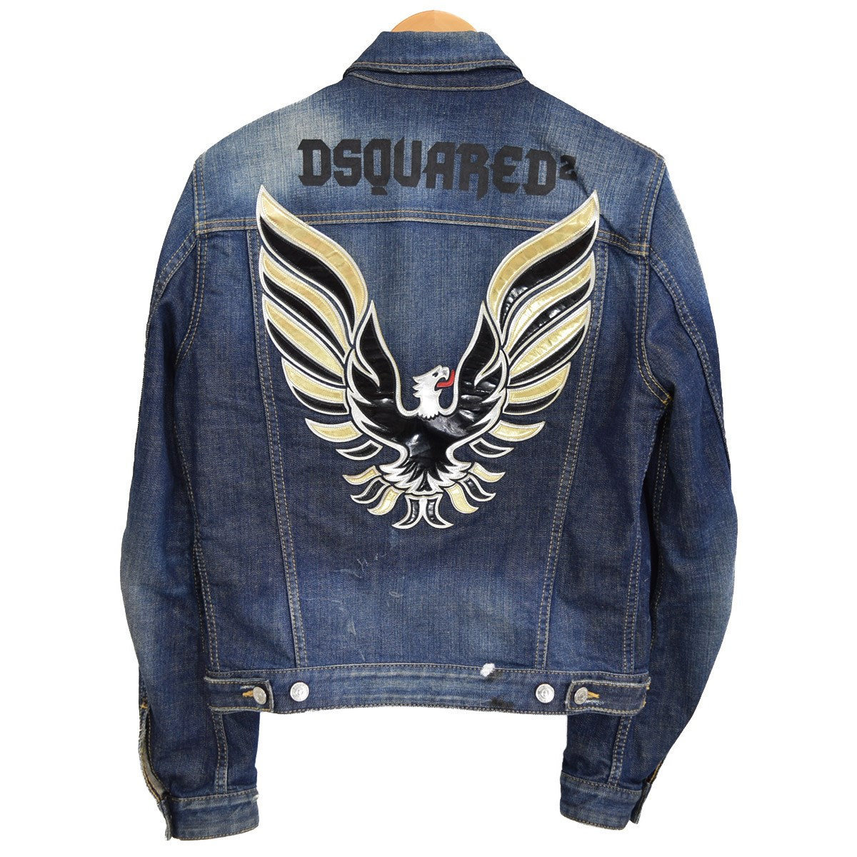 【中古】DSQUARED2 Jean eagle jacket バックイーグル加工デニムジャケット 15AW S71AM0664 インディゴ サイズ:46 【010320】(ディースクエアード)