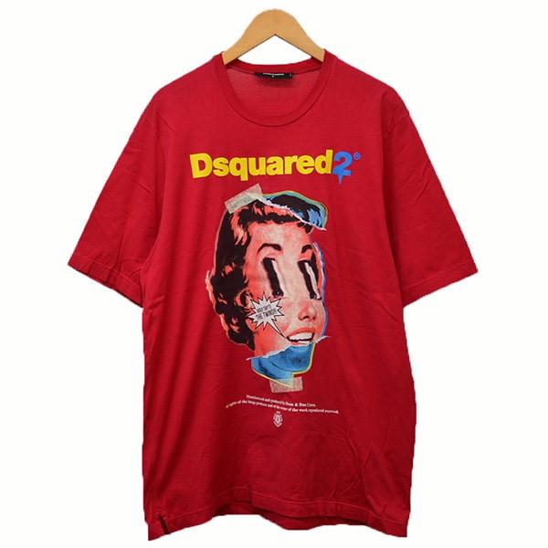 【中古】DSQUARED2 2019AW プリントTシャツ Tシャツ レッド サイズ:S 【020320】(ディースクエアード)