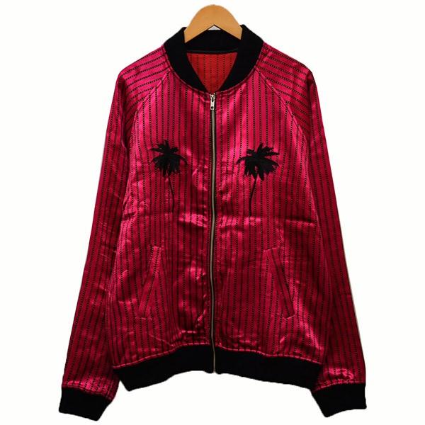 【中古】The Elder Statesman刺繍ストライプボンバージャケット ブルゾン ジャケット パープル サイズ:L 【4月2日見直し】