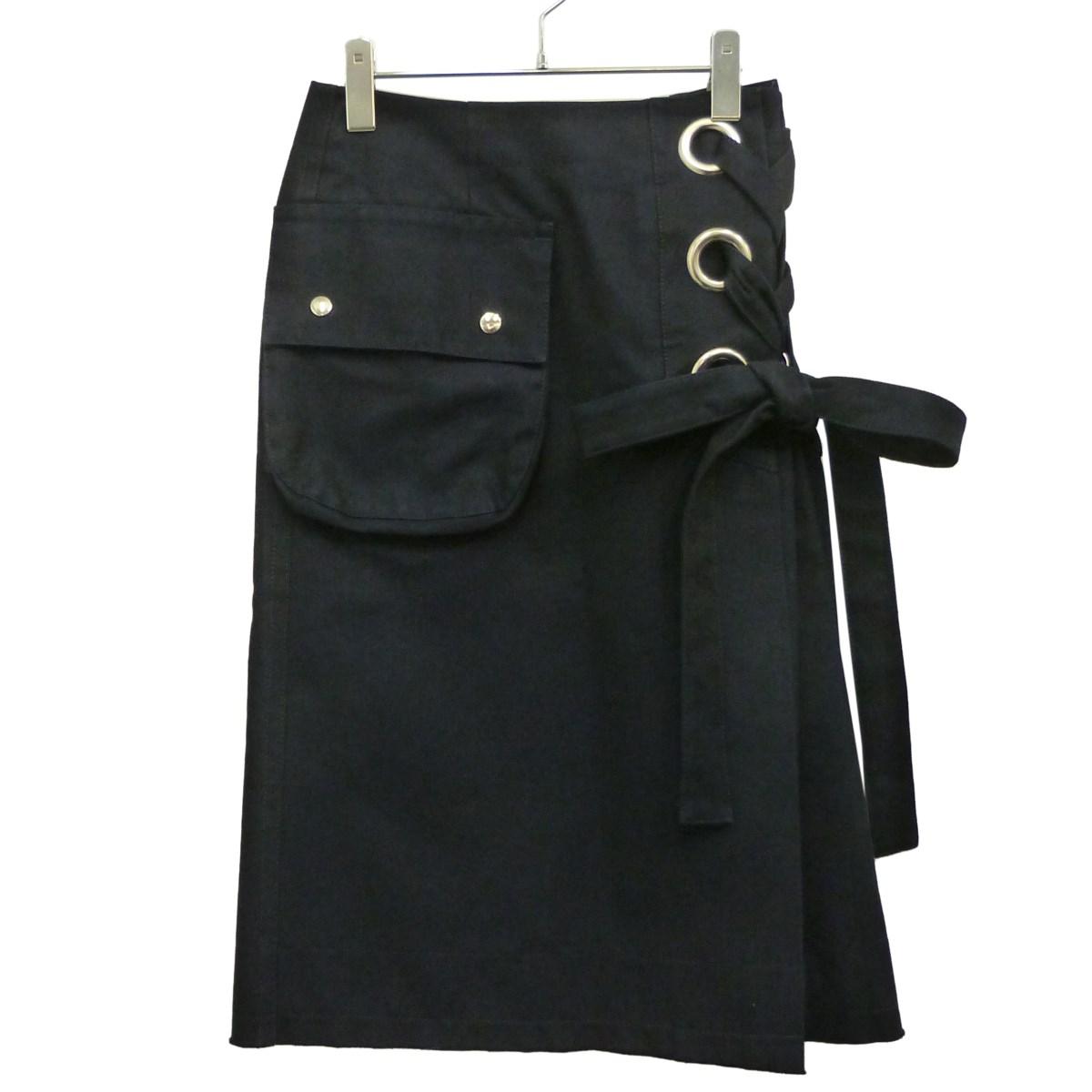 【中古】sacai サイドレーススカート ネイビー サイズ:2 【030320】(サカイ)