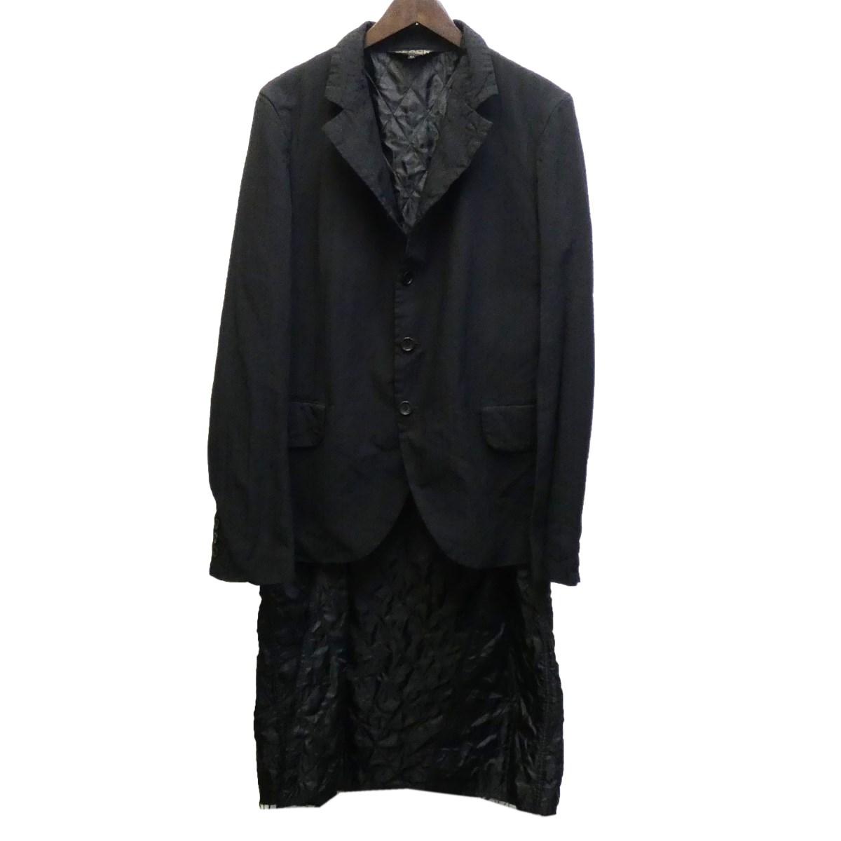 【中古】BLACK COMME des GARCONS 18AW ポリ縮絨レイヤードジャケット ブラック サイズ:M 【030320】(ブラック コムデギャルソン)