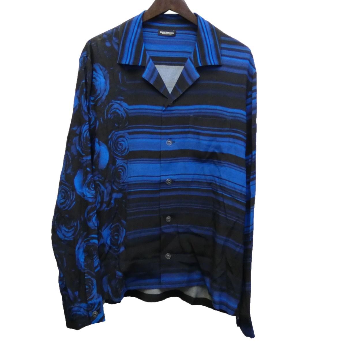 【中古】CHRISTIAN DADA 19AW ローズプリントレーヨンシャツ ブルー サイズ:48 【030320】(クリスチャンダダ)