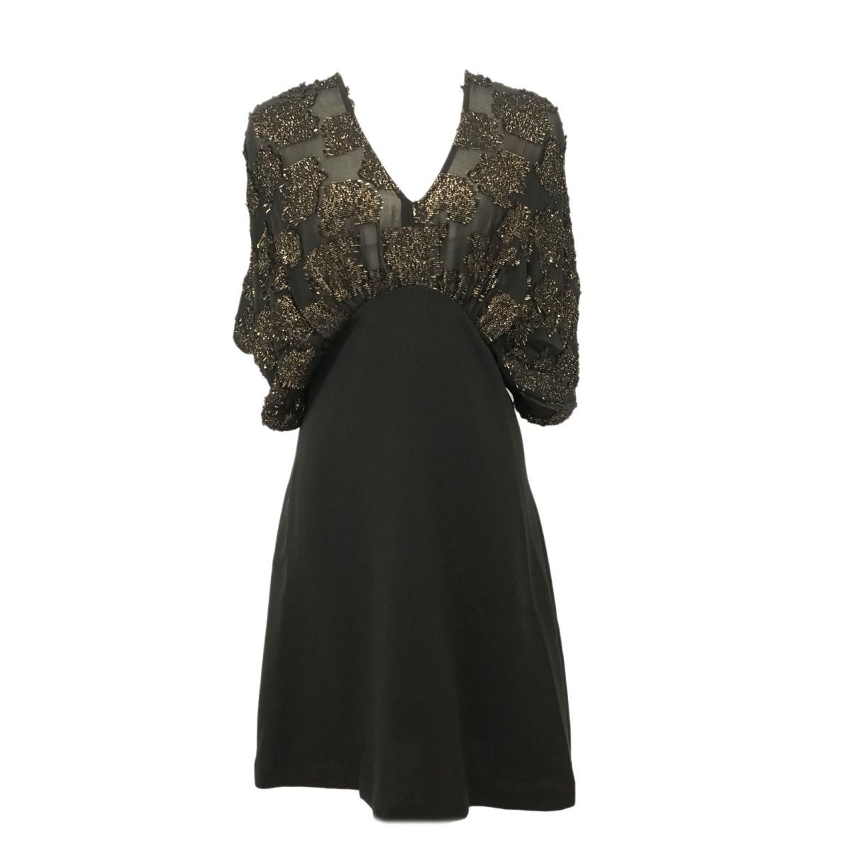 【中古】Mame Kurogouchi17SS Glitter Jacquard Mini Dress グリッタージャガードミニドレス ブラック・ゴールド サイズ:2