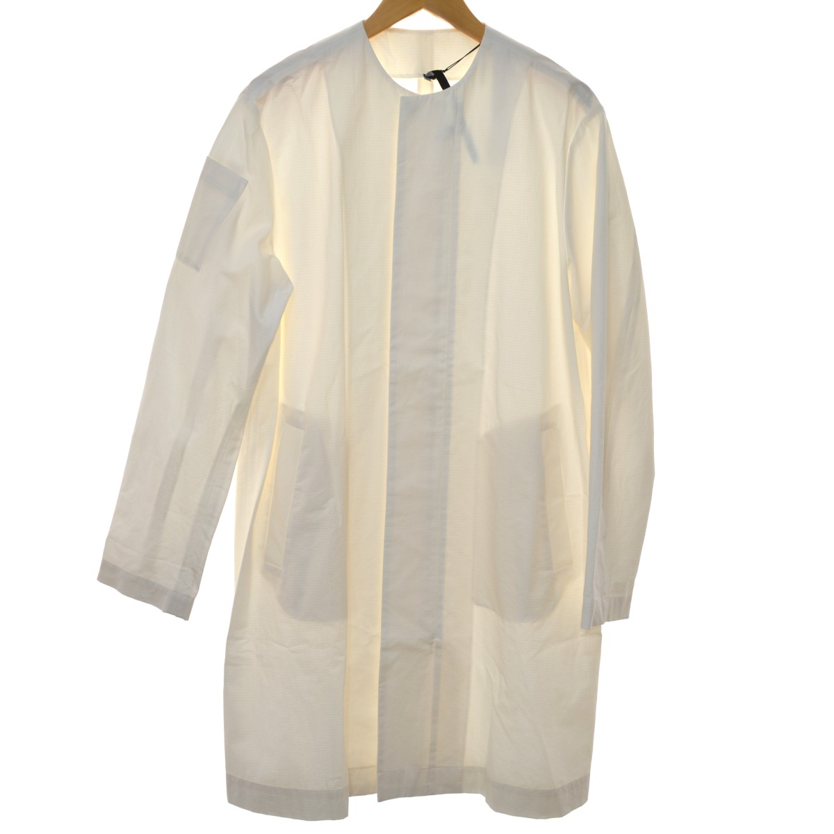 【中古】SARA LANZI 19SS ノーカラーコットンコート ホワイト サイズ:XL 【040320】(サラ ランツィ)