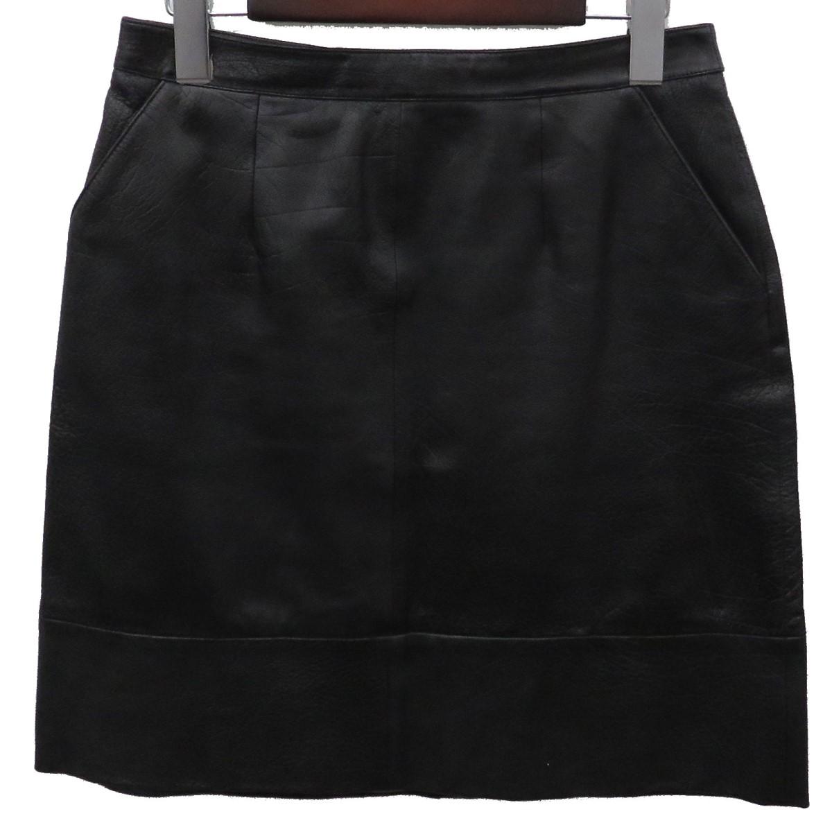【中古】CELINE レザースカート ブラック サイズ:40 【040320】(セリーヌ)