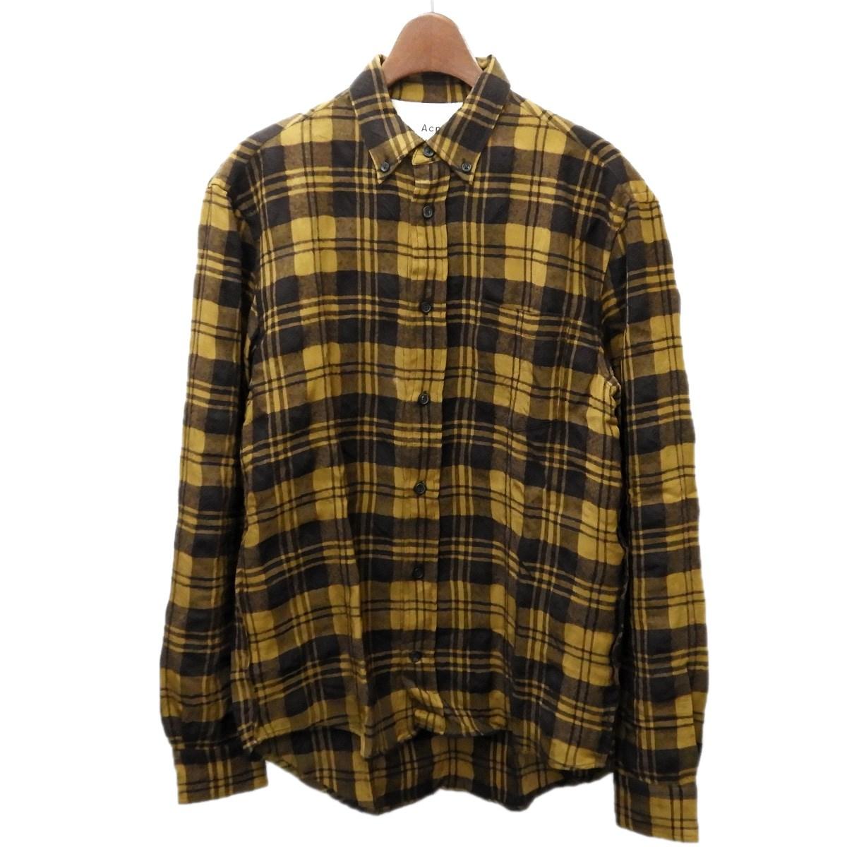 【中古】ACNE STUDIOS チェックシャツ ブラウン サイズ:44 【050320】(アクネストゥディオズ)